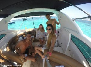 selfie on a chartered yacht